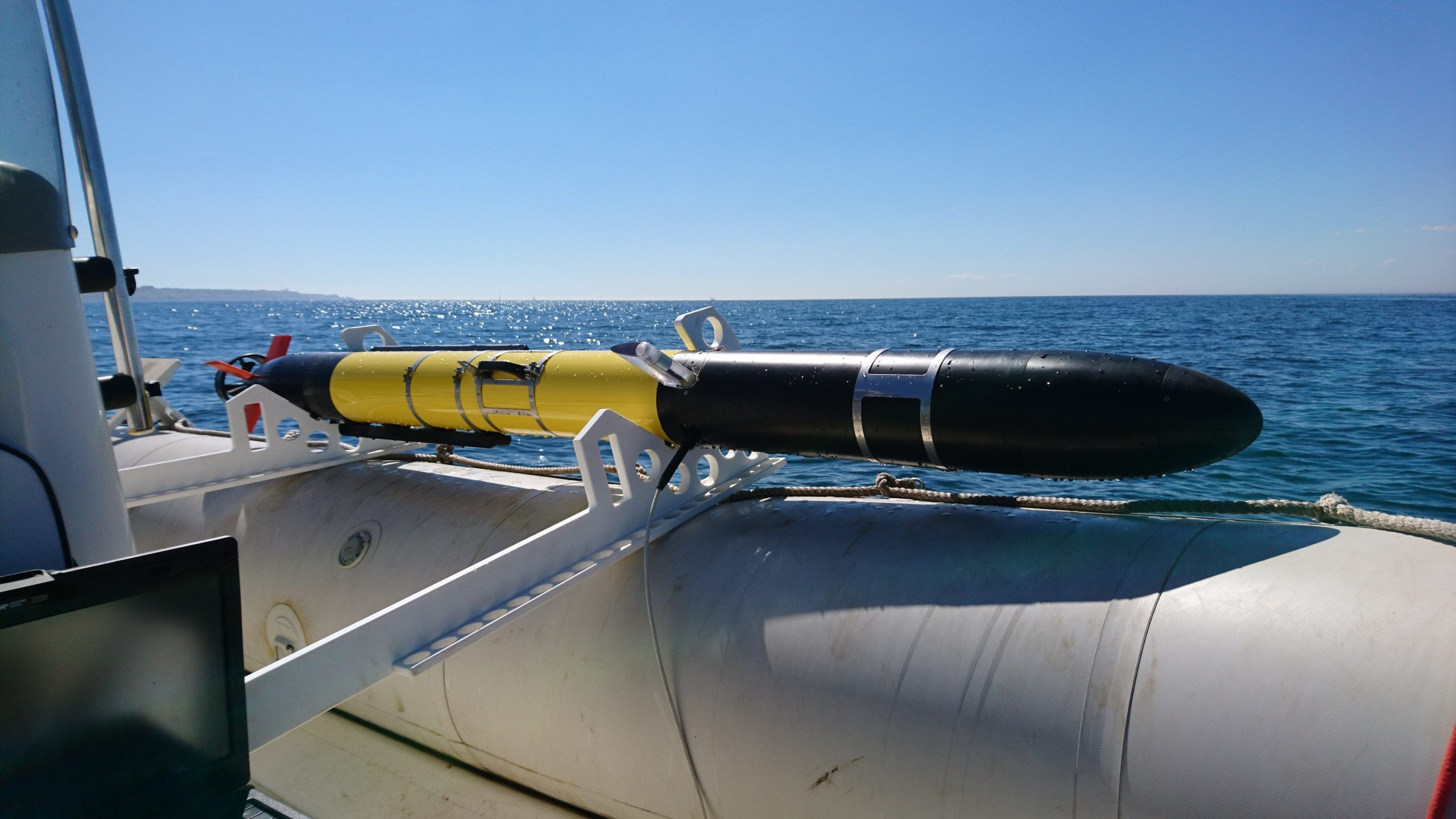 Autonomous underwater vehicle (AUV) ready for deployment